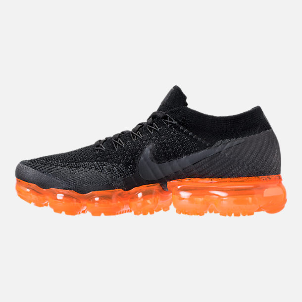 Left view of Men's Nike Air VaporMax Flyknit Running Shoes in Anthracite/Black/Rush Orange