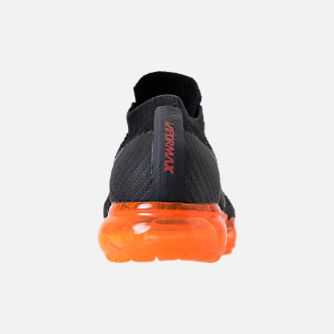 Back view of Men's Nike Air VaporMax Flyknit Running Shoes in Anthracite/Black/Rush Orange