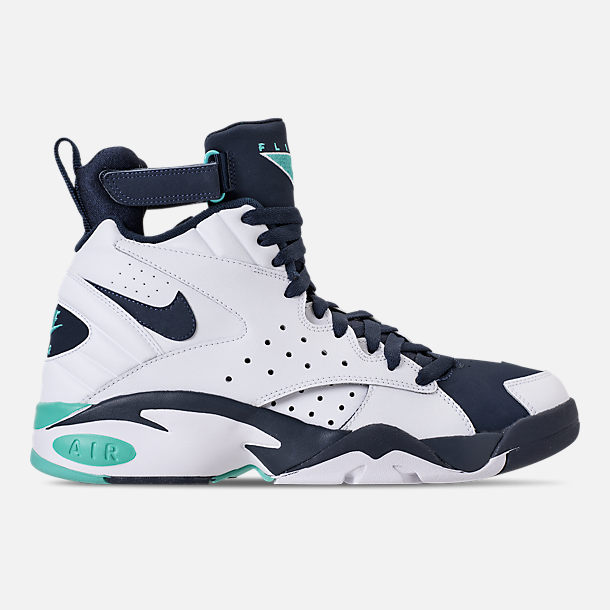 Right view of Men's Nike Air Maestro II LTD Basketball Shoes in White/Hyper Jade/Obsidian