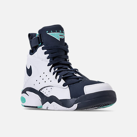 Three Quarter view of Men's Nike Air Maestro II LTD Basketball Shoes in White/Hyper Jade/Obsidian