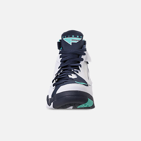 Front view of Men's Nike Air Maestro II LTD Basketball Shoes in White/Hyper Jade/Obsidian