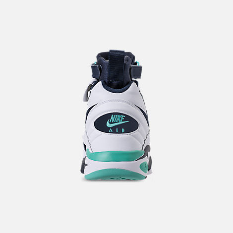 Back view of Men's Nike Air Maestro II LTD Basketball Shoes in White/Hyper Jade/Obsidian