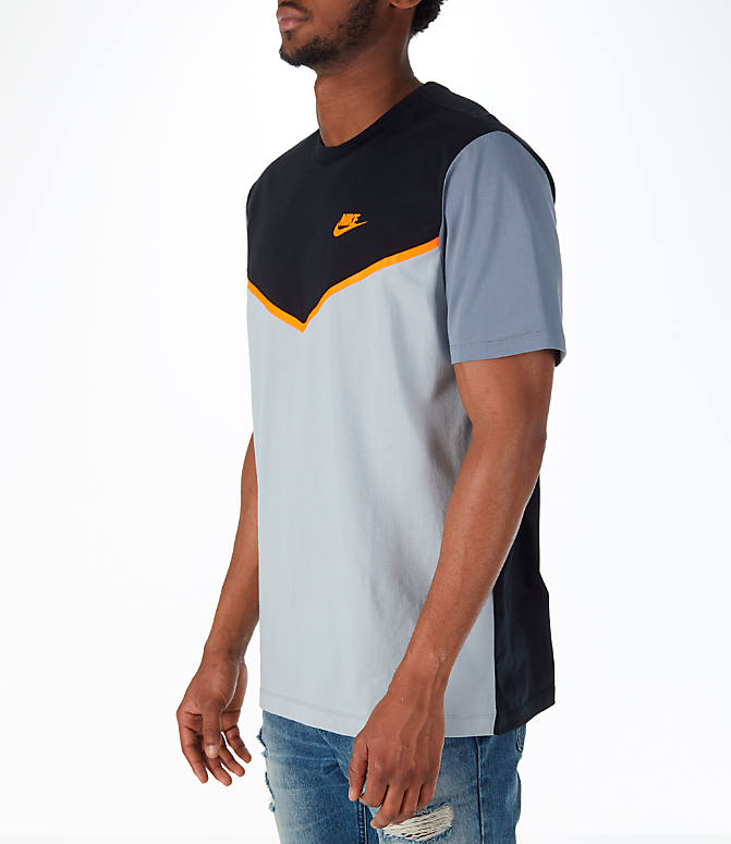 Front Three Quarter view of Men's Nike Sportswear Windrunner GX T-Shirt in Black/Silver/Cool Grey/Orange