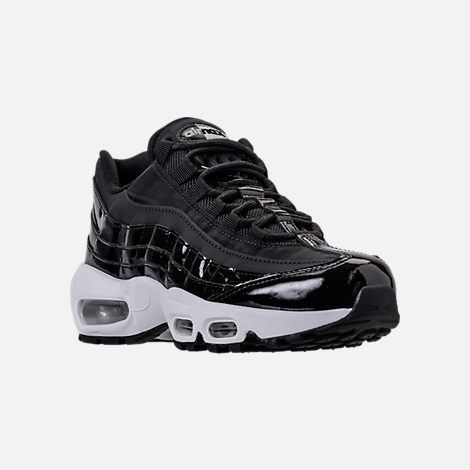 Three Quarter view of Women's Nike Air Max 95 Special Edition Casual Shoes in Black/Reflective Silver/Grey/White