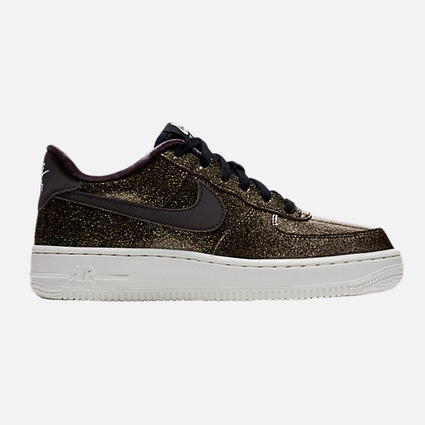 Right view of Girls' Grade School Nike Air Force 1 Pinnacle Casual Shoes in Black/Glacier Blue/Summit White