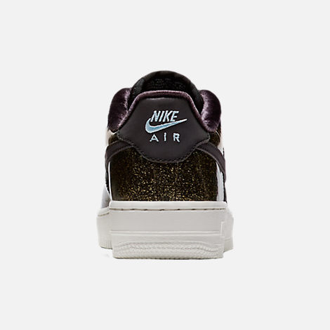 Back view of Girls' Grade School Nike Air Force 1 Pinnacle Casual Shoes in Black/Glacier Blue/Summit White