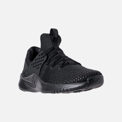 Three Quarter view of Men's Nike Free Trainer V8 Training Shoes in Triple Black