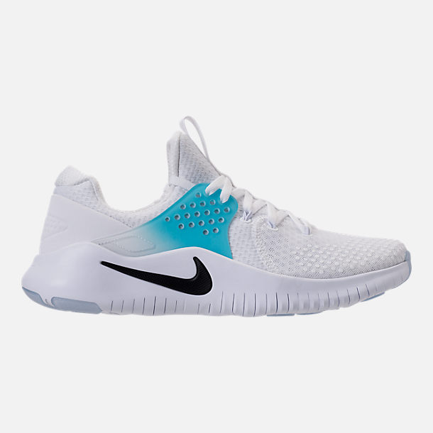 Right view of Men's Nike Free Trainer V8 Training Shoes in White/Black/Lagoon Pulse