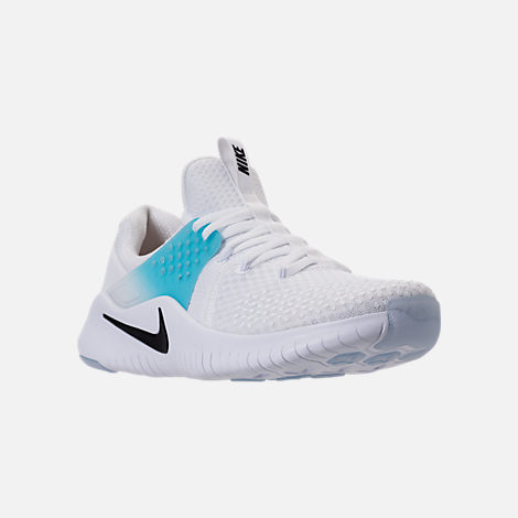 Three Quarter view of Men's Nike Free Trainer V8 Training Shoes in White/Black/Lagoon Pulse