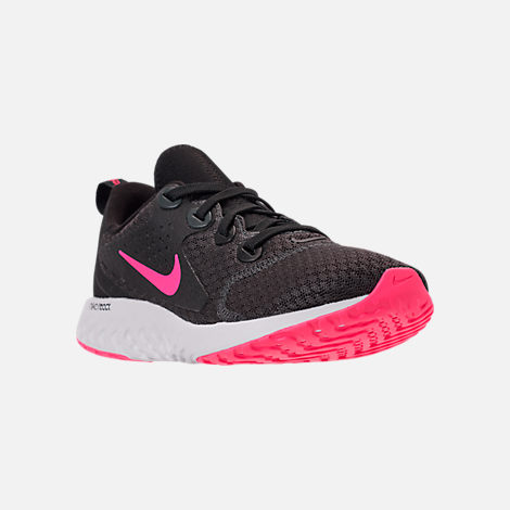 Three Quarter view of Girls' Grade School Nike Legend React Running Shoes in Black/Racer Pink/Anthracite/White