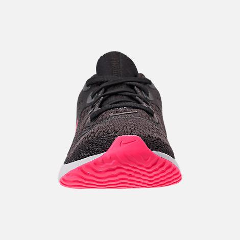 Front view of Girls' Grade School Nike Legend React Running Shoes in Black/Racer Pink/Anthracite/White