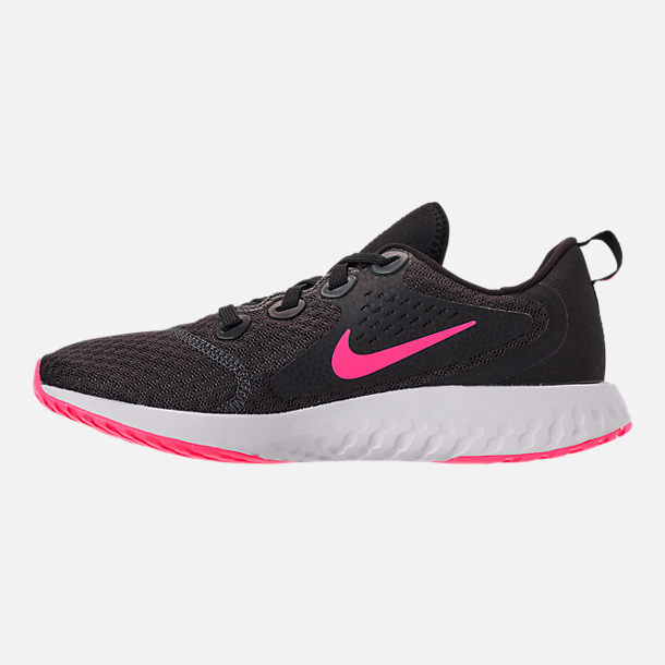 Left view of Girls' Grade School Nike Legend React Running Shoes in Black/Racer Pink/Anthracite/White