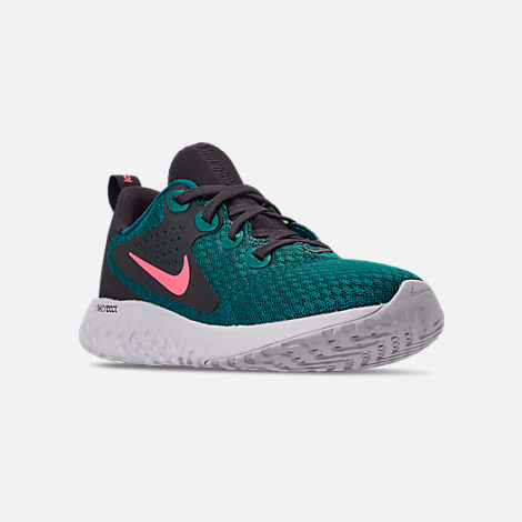 Three Quarter view of Boys' Big Kids' Nike Legend React Running Shoes in Geode Teal/Hot Punch/Oil/Vast Grey