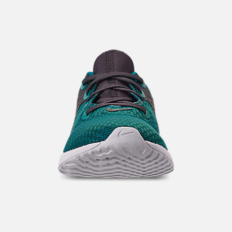Front view of Boys' Big Kids' Nike Legend React Running Shoes in Geode Teal/Hot Punch/Oil/Vast Grey