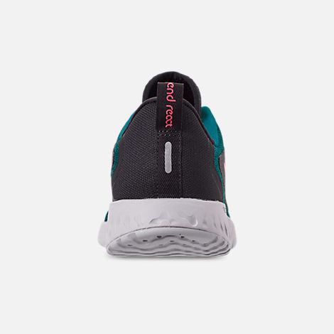 Back view of Boys' Big Kids' Nike Legend React Running Shoes in Geode Teal/Hot Punch/Oil/Vast Grey