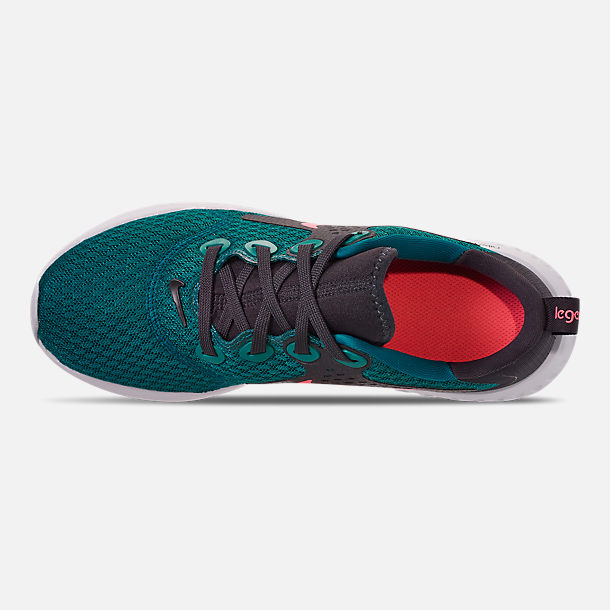 Top view of Boys' Big Kids' Nike Legend React Running Shoes in Geode Teal/Hot Punch/Oil/Vast Grey