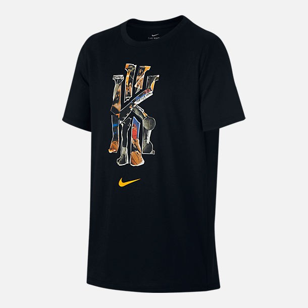 Front view of Boys' Nike Dry Kyrie Logo T-Shirt in Black/Print