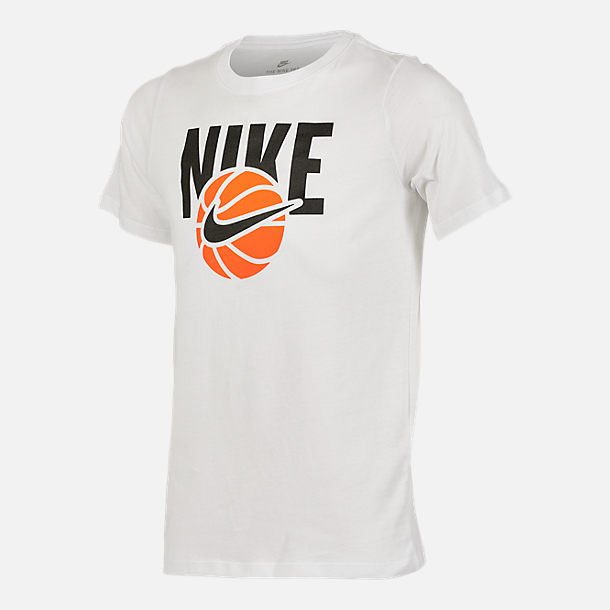 Front view of Boys' Nike Basketball T-Shirt in White