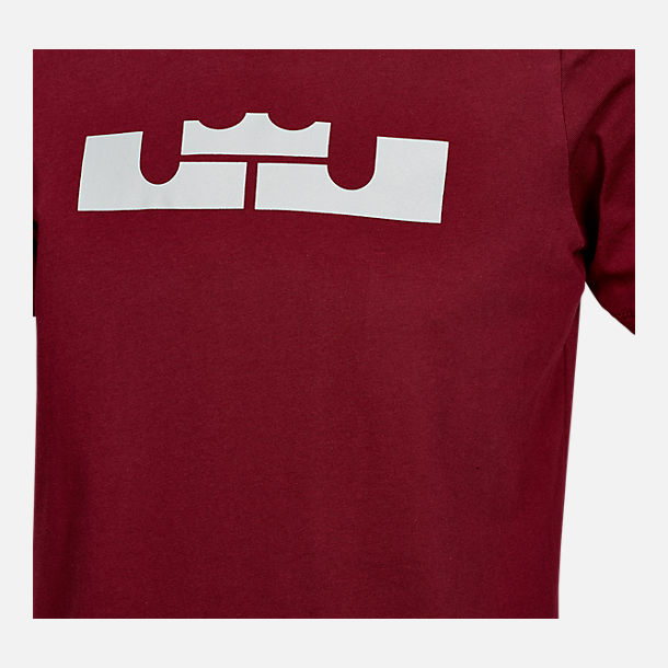 Back view of Boys' Nike Dri-FIT LeBron Crown T-Shirt in Team Red/Wolf Grey