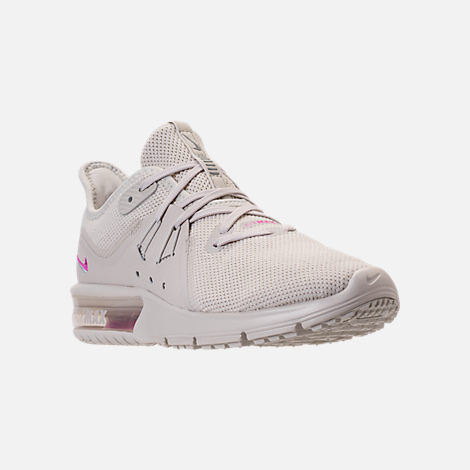 Three Quarter view of Women's Nike Air Max Sequent 3 LE Running Shoes in Light Bone/Light Bone/Light Pumice