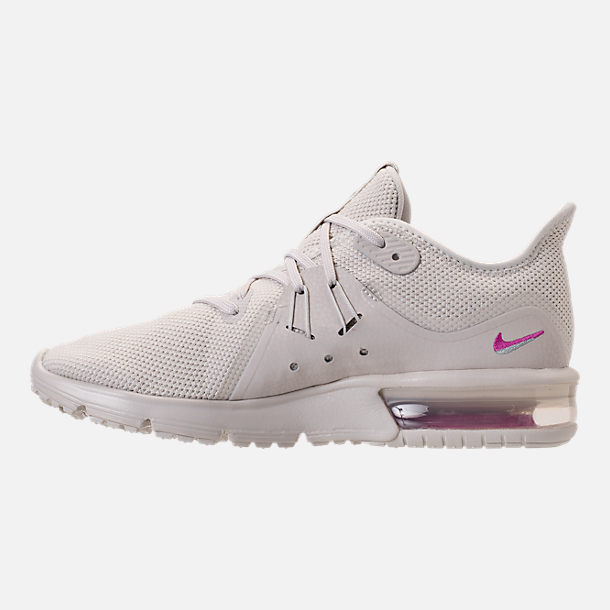 Left view of Women's Nike Air Max Sequent 3 LE Running Shoes in Light Bone/Light Bone/Light Pumice