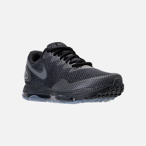 Three Quarter view of Men's Nike Zoom All Out Low 2 Running Shoes in Black/Dark Grey/Anthracite