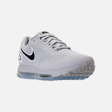 Three Quarter view of Men's Nike Zoom All Out Low 2 Running Shoes in Pure Platinum/Black/White