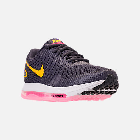 Three Quarter view of Women's Nike Zoom All Out Low 2 Running Shoes in Gridiron/Laser Orange/Black