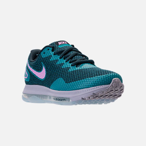 Three Quarter view of Women's Nike Zoom All Out Low 2 Running Shoes in Armory Navy/Light Magenta/Blistery