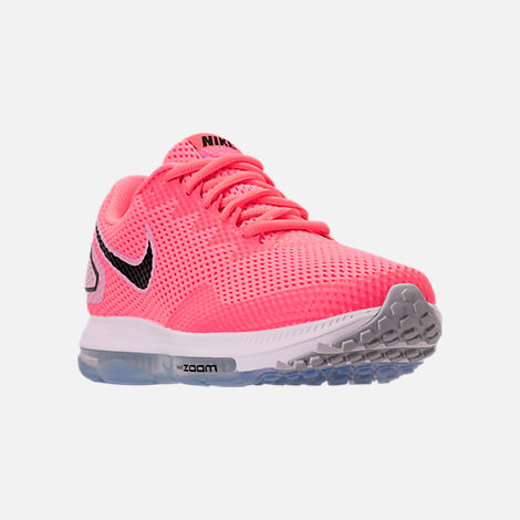 Three Quarter view of Women's Nike Zoom All Out Low 2 Running Shoes in Hot Punch/Black/Light Arctic Pink