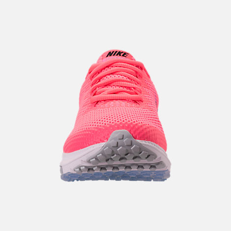 Front view of Women's Nike Zoom All Out Low 2 Running Shoes in Hot Punch/Black/Light Arctic Pink