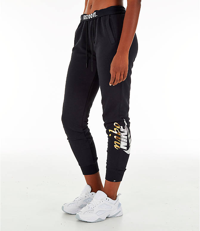 Front Three Quarter view of Women's Nike Sportswear Rally Metallic Jogger Pants in Black