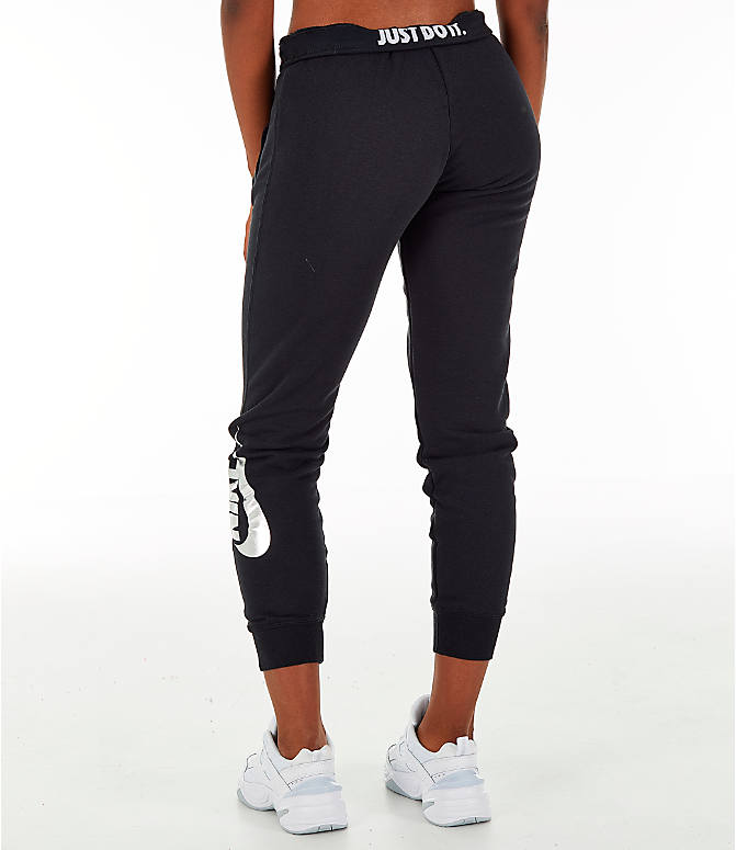 Back Left view of Women's Nike Sportswear Rally Metallic Jogger Pants in Black