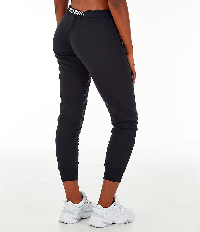 Back Right view of Women's Nike Sportswear Rally Metallic Jogger Pants in Black