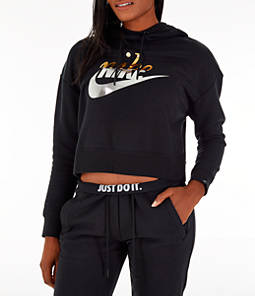 Women's Nike Sportswear Rally Metallic Crop Hoodie