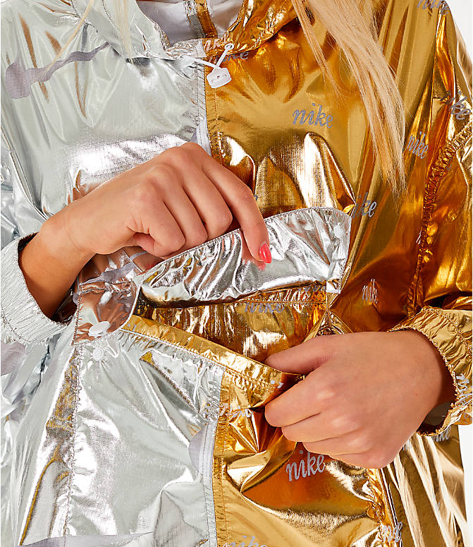 Detail 1 view of Women's Nike Sportswear Metallic Flash Wind Jacket in Gold/Silver