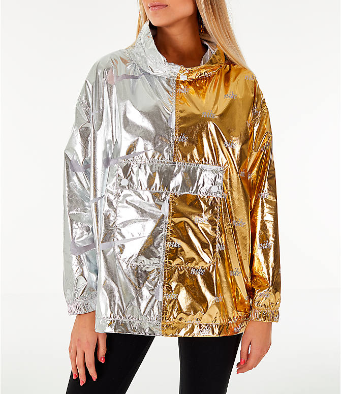 Front view of Women's Nike Sportswear Metallic Flash Wind Jacket in Gold/Silver