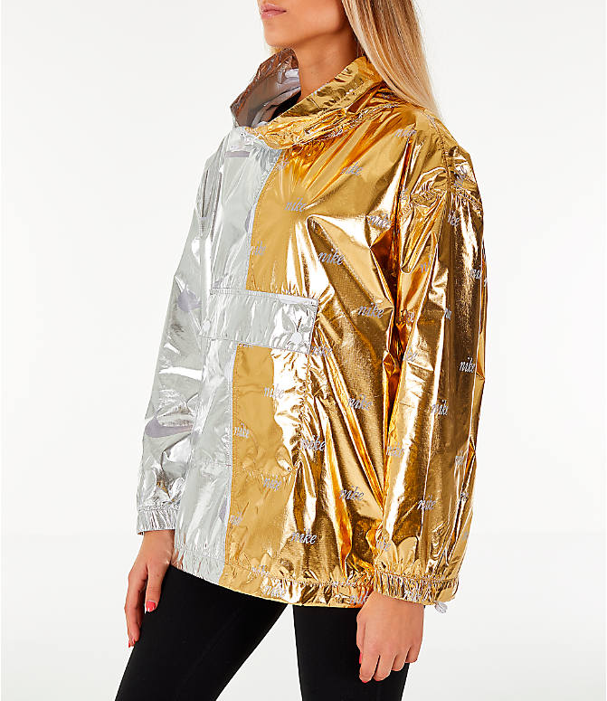 Front Three Quarter view of Women's Nike Sportswear Metallic Flash Wind Jacket in Gold/Silver