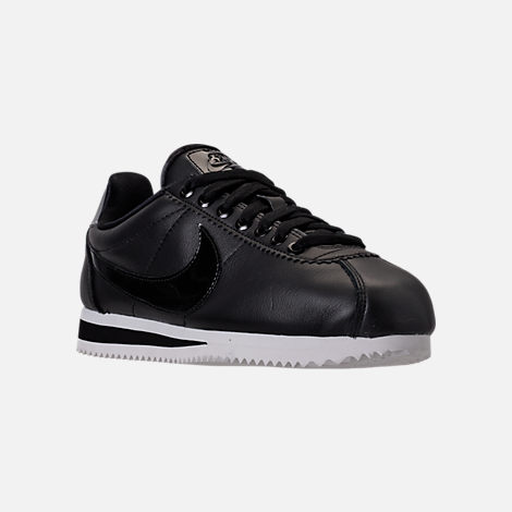 Three Quarter view of Women's Nike Classic Cortez Special Edition Premium Casual Shoes in Black/Reflective Silver/Cool Grey