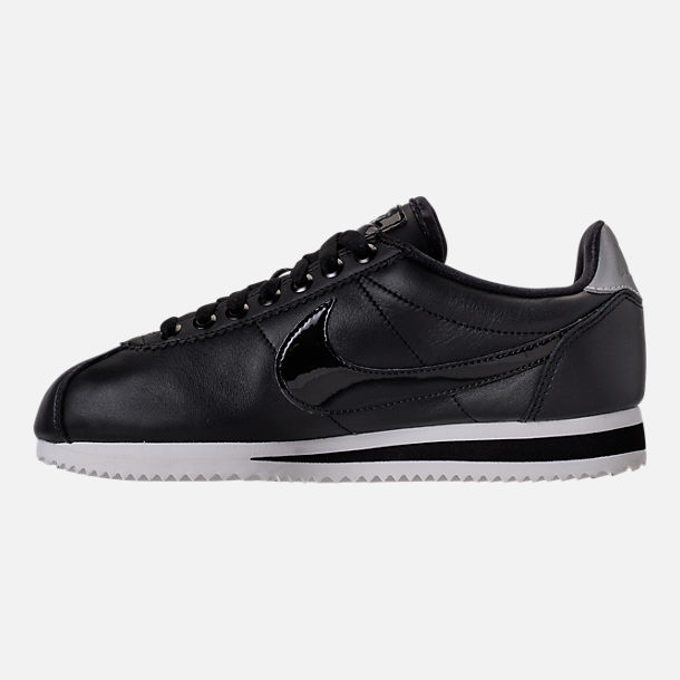 Left view of Women's Nike Classic Cortez Special Edition Premium Casual Shoes in Black/Reflective Silver/Cool Grey