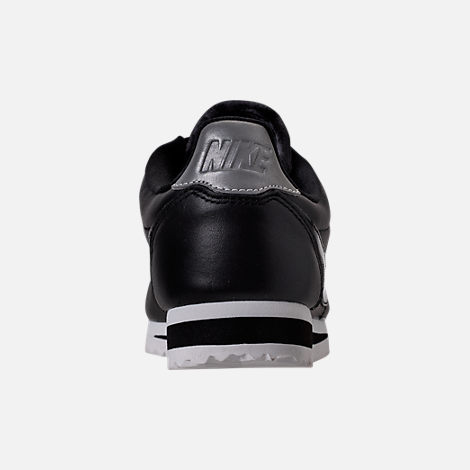 Back view of Women's Nike Classic Cortez Special Edition Premium Casual Shoes in Black/Reflective Silver/Cool Grey