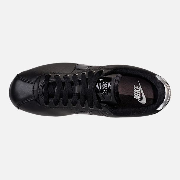 Top view of Women's Nike Classic Cortez Special Edition Premium Casual Shoes in Black/Reflective Silver/Cool Grey