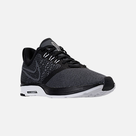 Three Quarter view of Women's Nike Zoom Strike Running Shoes in Black/White/Dark Grey/Anthracite