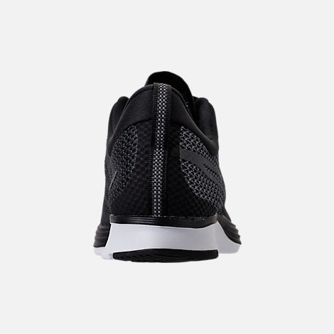 Back view of Women's Nike Zoom Strike Running Shoes in Black/White/Dark Grey/Anthracite