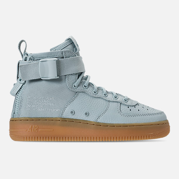 Right view of Girls' Grade School Nike SF Air Force 1 Mid Casual Shoes in Ocean Bliss/Gum Light Brown