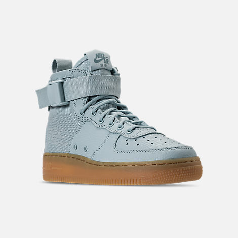 Three Quarter view of Girls' Grade School Nike SF Air Force 1 Mid Casual Shoes in Ocean Bliss/Gum Light Brown