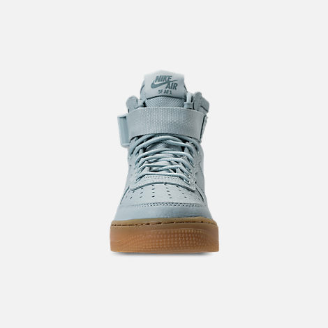 Front view of Girls' Grade School Nike SF Air Force 1 Mid Casual Shoes in Ocean Bliss/Gum Light Brown