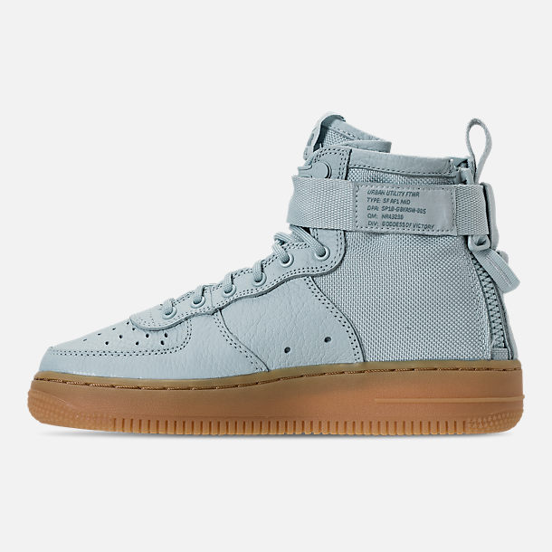 Left view of Girls' Grade School Nike SF Air Force 1 Mid Casual Shoes in Ocean Bliss/Gum Light Brown