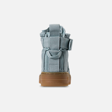 Back view of Girls' Grade School Nike SF Air Force 1 Mid Casual Shoes in Ocean Bliss/Gum Light Brown