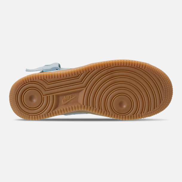 Bottom view of Girls' Grade School Nike SF Air Force 1 Mid Casual Shoes in Ocean Bliss/Gum Light Brown